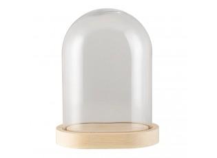 Přírodní dřevěný podnos se skleněným poklopem S - 17*12*20 cm