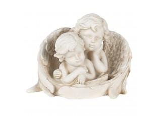 Bílá dekorativní soška 2 andělů - 16*10*12 cm