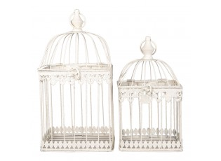 Bílá kovová dekorativní klec s patinou na ptáčky (2 ks) - 21*21*42 / 18*18*32 cm