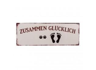 Nástěnná kovová cedule Zusammen Glücklich - 36*13 cm