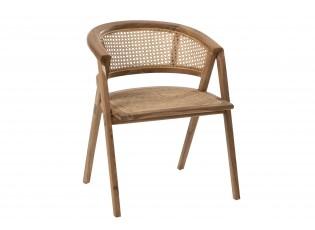 Hnědá dřevěná židle Ani Teak s bambusovým výpletem - 59*59*73cm
