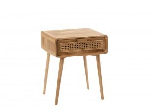 Hnědý dřevěný noční stolek stůl Alis Teak se šuplíčkem a bambusovým výpletem - 40*59*51cm