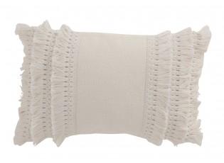 Krémový bavlněný polštář s třásněmi Tassel Edge - 45*30 cm