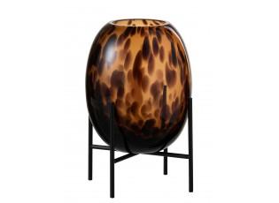 Skleněná hnědo - černá dekorační váza Speck na podstavci - Ø 23*12cm