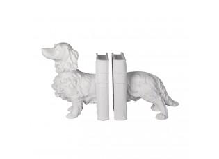 Bílá zarážka na knihy ve tvaru psa - 28*12*22 cm