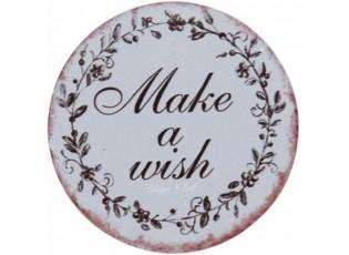 Kulatý kovový magnet Make a wish - Ø 8 cm