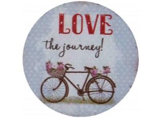Kovový kulatý magnet Love the journey - Ø 8 cm