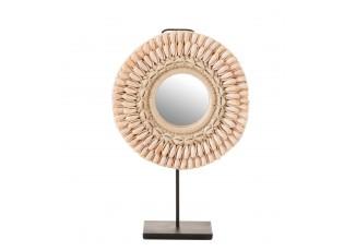 Stolní kulaté zrcadlo v rámu z mušliček - Ø 25*12*41 cm