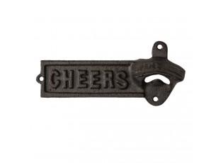 Nástěnný hnědo černý litinový otvírák Cheers - 18*3*8 cm