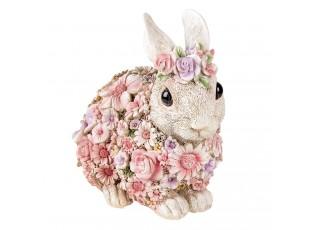 Dekorativní soška králíka posetého květinami - 19*12*18 cm