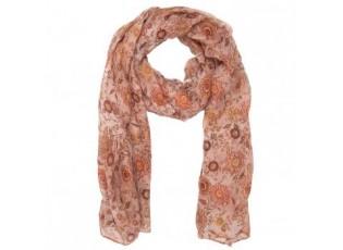 Hnědý šátek s barevnými květy - 80*180 cm