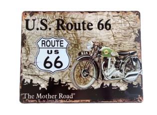 Nástěnná kovová cedule U.S.Route 66 - 25*33 cm