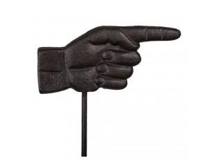 Černo hnědý kovový zahradní kůl ruka - 18*1*88 cm