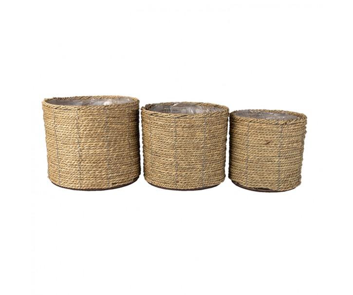 3 ks pletených přírodních obalů na květináče - Ø 30*23/ Ø 26*21/ Ø 21*20 cm