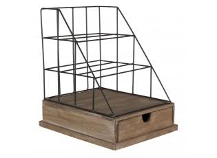 Kovový stojan na dopisy s dřevěným šuplíkem - 26*32*36 cm