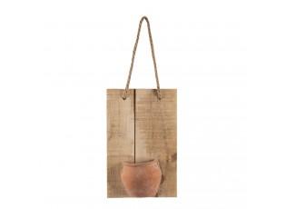 Závěsná dekorativní dřevěná deska s hnědým hrnečkem - 18*11*28 cm
