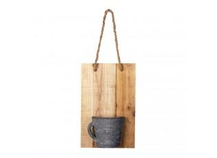 Závěsná dekorativní dřevěná deska s hrnečkem- 18*11*28 cm