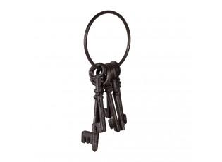 Hnědo černý dekorativní litinový svazek klíčů - 9*19*3 cm