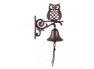 Hnědo černý litinový nástěnný zvonek se sovou - 11*19*25 cm