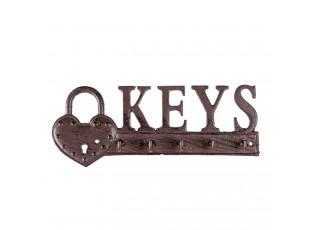 Hnědo černý litinový háček na klíče Keys - 26*3*10 cm