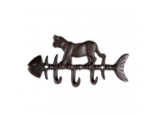 Hnědo černý litinový nástěnný věšák kostra ryby s kočkou - 20*2*10 cm