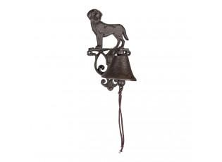 Hnědo černý litinový nástěnný zvonek s pejskem L - 14*14*25 cm