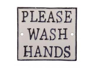 Nástěnná litinová cedule Wash hands - 11*10 cm