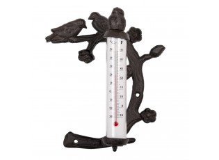 Hnědo černý litinový teploměr s ptáčky - 18*8*21 cm