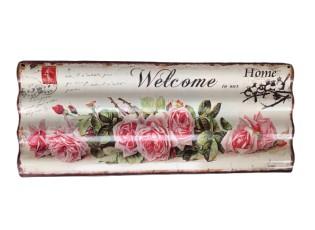 Nástěnná kovová vlnkatá cedule Welcome - 59*24 cm