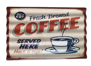 Nástěnná kovová vlnkatá cedule Coffee - 59*39 cm