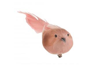 Růžový peříčkový ptáček s klipem  - 5*16,5*5 cm