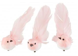 3ks světle růžový peříčkový ptáček s klipem  - 4*5*14 cm
