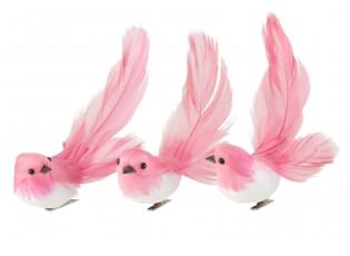 3ks tmavě růžový peříčkový ptáček s klipem  - 4*5*14 cm