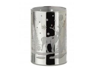 Stříbrný skleněný svícen s Jelenm a Led světýlky - Ø 9*12 cm