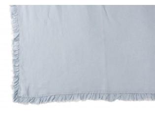 Modrý praný lněný pléd s třasňovitým volánkem Romantic - 150*200 cm