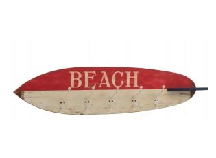 Červeno-bílý dřevěný věšák v designu surfového prkna Beach - 87*9*20,5 cm
