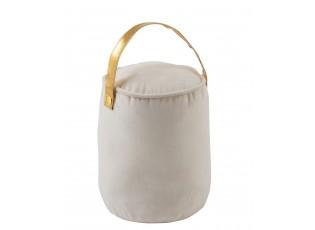 Bílá dveřní zarážka válec se zlatým držadlem Velvet - Ø 14*23cm