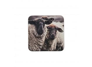 6 ks pevné korkové podtácky Horské ovce - 10*10*0,4cm