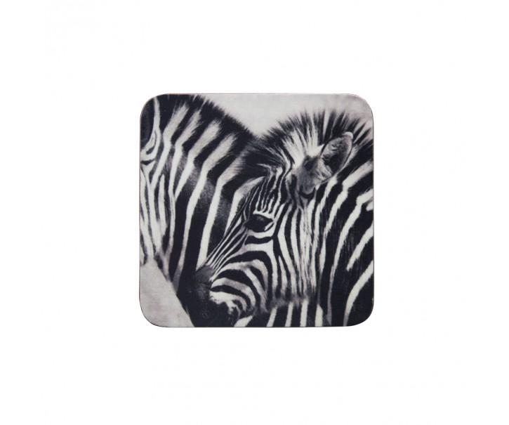 6 ks pevné korkové podtácky Zebras - 10*10*0,4cm