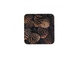 6ks pevné korkové prostírání s motivem šišek  - 10*10*0,4cm