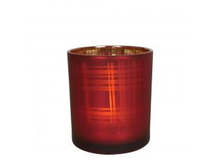 Červený skleněný kostkovaný svícen S - 7*7*8cm
