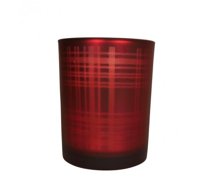 Červený skleněný kostkovaný svícen M - 10*10*12,5cm