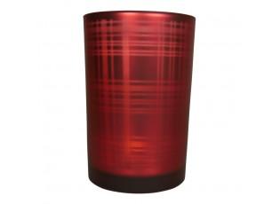 Červený skleněný kostkovaný svícen L - 12*12*18cm