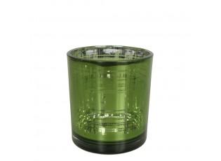 Zelený skleněný kostkovaný svícen S - 7*7*8cm