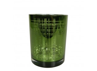 Zelený skleněný kostkovaný svícen M - 10*10*12,5cm