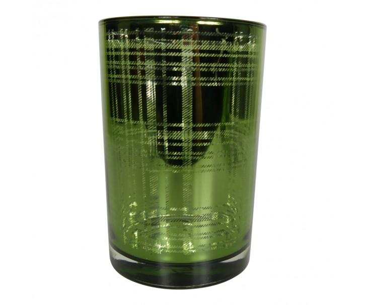Zelený skleněný kostkovaný svícen L - 12*12*18cm