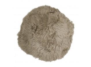 Hnědý chlupatý kulatý podsedák z ovčí kůže Shipy - Ø 40*2cm