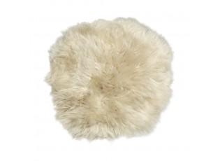 Béžový kulatý podsedák z ovčí kůže - 40*40*2 cm