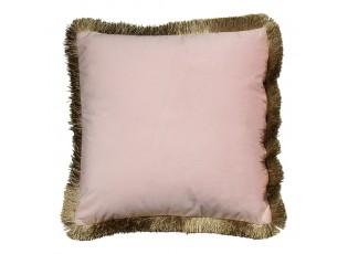 Čtvercový růžový polštář Rose se zlatými třásněmi - 45*45*10cm