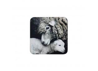 6 ks pevné korkové podtácky Ovce - 10*10*0,4cm